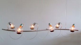 Langwerpige kroonluchter met transparante lampen